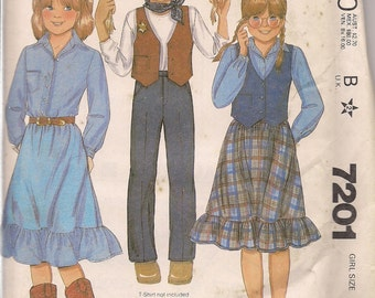 1980 Sewing Pattern McCall's 7201 girls shirt, pants, skirt, vest size 12 bust 30