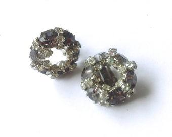 Warner Smoke Grey Rhinestone Earrings Vintage Jewelry Fashion Accessory