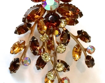 Juliana Brown Rhinestone Flower Brooch Vintage Style Fashion Jewelry