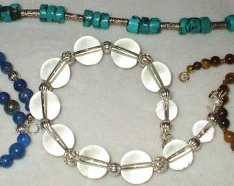 4 Genuine Gemstone Bracelets W/14kt & sterling clasp