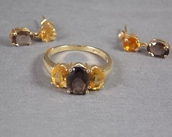 Smoky Quartz and Citrine Ring and Earrings Set 7.5Ctw 5.1gm set Ring size 7.75 Nov Birthstone
