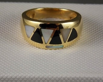 Onyx and Mother of Pearl Inlay Ring 10mm wide Yellow Gold 14K 6.9gm Size 7.25 Wedding
