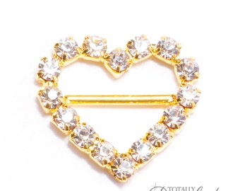 40pcs Heart Buckles, Wholesale Invitation Slide Buckles Cake Decoration Gold Jewel Heart Slider Buckle Diamond Invitations,  Buckle 106-G