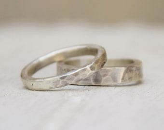 Sterling Silver Hammered Bands - Wedding Rings - Rustic Bands - Metalwork - Simple  - Womens Ring - Unisex Jewelry