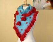 "Felted Art  baktus with Hand Warmers shawl  "" Red Tulips"" light blue red flower wrap spotted OOAK"