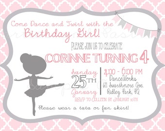 BALLERINA BIRTHDAY INVITATION -  Photo Optional Birthay invitation - Ballet Invitation - Pink - Gray - Dance and Twirl Ballerina Invite