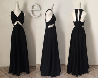 MOD Vintage 60s 70s Cut Out Ring Dress Black Maxi Dress Red Carpet Party Dress 1970s Disco Prom Dress Couture Designer Style Small Medium