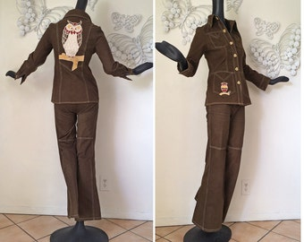 Vintage 70s GROOVY Owl Bell Bottom Jeans & Jacket Set 1970s Brown Brushed Denim with Appliqué Owl Hippie Boho Coachella Festival Outfit Smal
