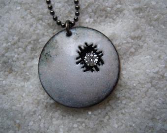 White pendant necklace jewelry Enamel jewelry Artisan jewelry Weathered necklace