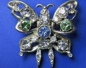 SALE! Rhinestone Brooch - Butterfly Vintage Brooch - Vintage Rhinestone Brooch - Vintage Brooch