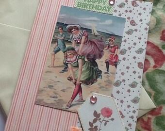 Vintage style edwardian seaside birthday card with verse