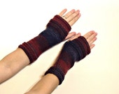 Long Fingerless Gloves Striped  - Soft Knit Mittens - Women and Teens Accessories - Fall and Winter Fashion