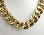 Chunky Gold Necklace with Curb Links Vintage 1980s Estate Jewelry