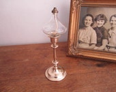 Oil Lamp Candlestick. Colonial Style Lamp Candlestick.  Floating Lamp Brass and Hand Blown Glass.