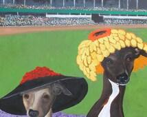 """Greyhound  Art Print of an original oil painting - """"Derby Day Selfie"""" - Churchill Downs - 8 x 10 - Dog art"""