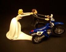 Come Back BLUE Yamaha 250 TT-R Dirt BIKE Bride and Groom Funny Motorcycle Wedding Cake Topper Groom's Cake