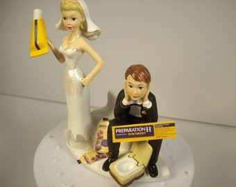 Got the Poops ! Preparation H Funny Wedding Cake Topper Hemorrhoids Bride and Groom with Toilet Groom's Cake