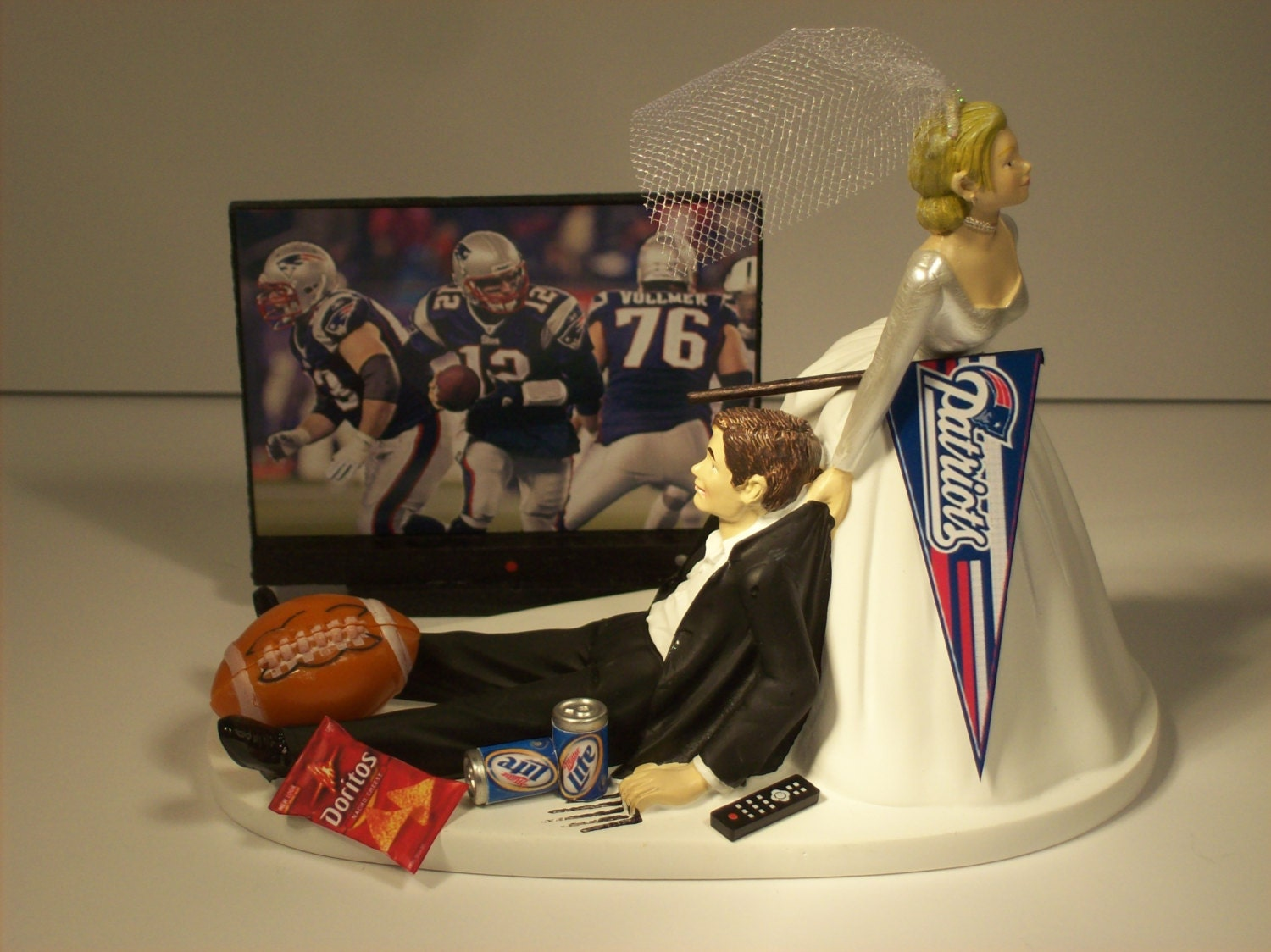 Football Game New England Patriots Funny Wedding Cake Topper