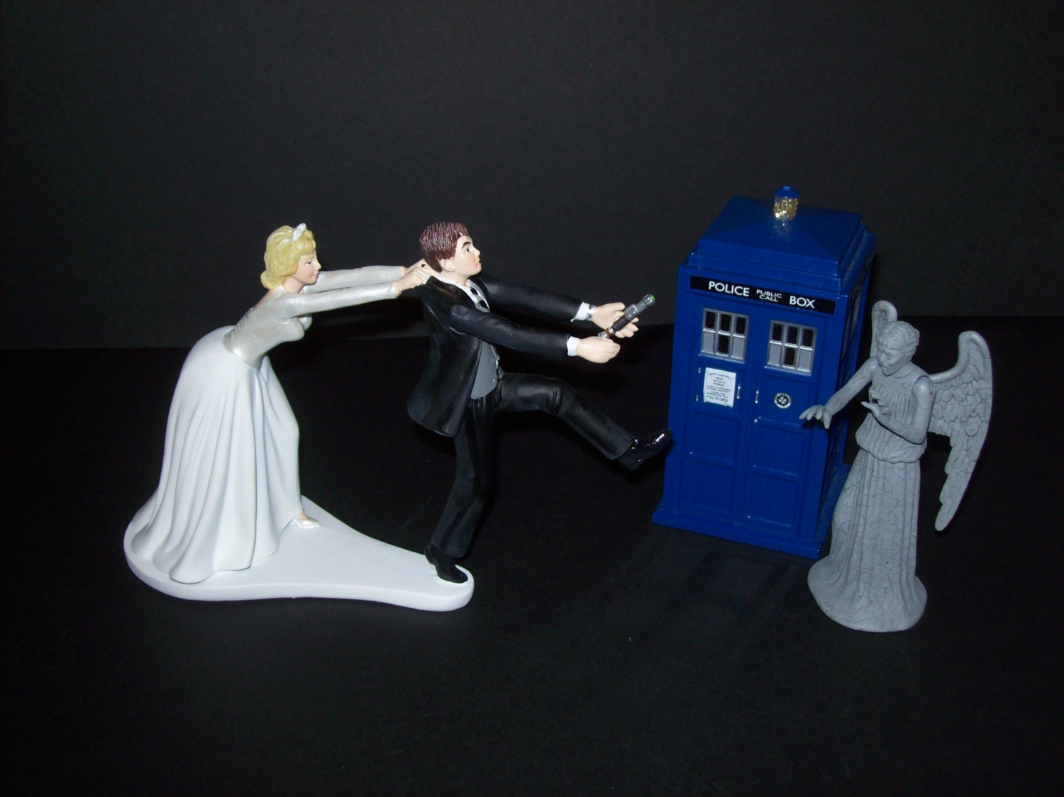 Doc Who Running Groom Funny Wedding Cake Topper Who by