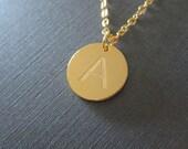 Gold Laser Engraved Initial Letter Necklace