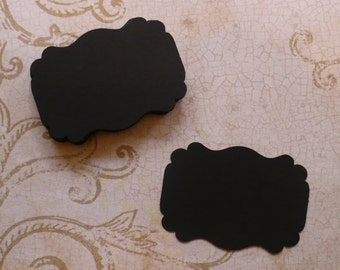 50 Black Label Punchies - Shapes - Die Cut pieces Cardstock Great for Stamping Chalk Crafts Tags Weddings Cards Labels