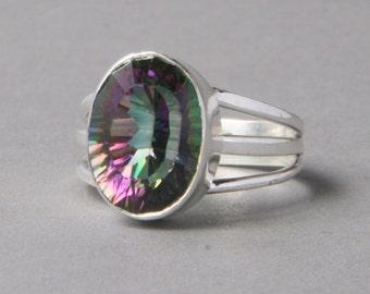 Mistic Quartz Ring Sterling Silver US 10 - gemstone ring
