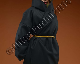 SOLD OUT - Earth tones ankara /African print winter coat on black wool