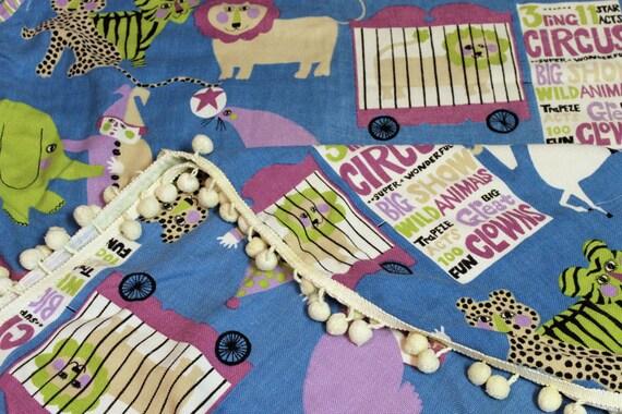 SALE Vintage Circus Bark Cloth Bed Spread