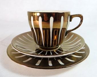 Art Deco Trio, Grays Pottery China Hand-decorated Bronze Copper Lustre Teaplate & Saucer Set, 1950s