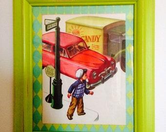 FREE Shipping * Framed Retro Vintage Children's Book Page Nursery Art Boys Room Decor Cars