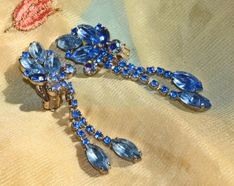 1950s Earrings Sapphire Blue and Aurora Borealis Rhinestone Vintage Dangle Earrings