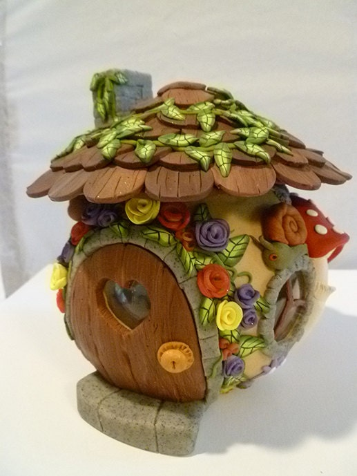 Fairy House Candle Holder Collectible Ooak