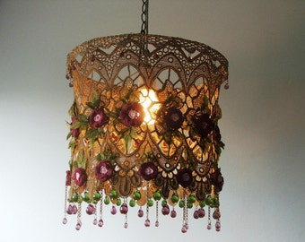 A Majestic Hanging Ceiling Lamp Shade with Hand Painted Crochet Flowers, Fabric Leaves and Colored  Czech Glass Tear-drop Beads .