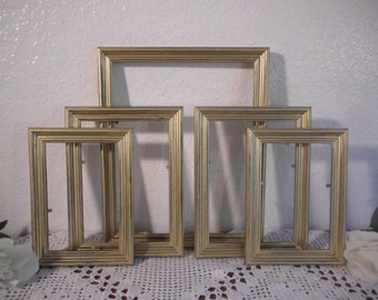 Gold Frame Set Shabby Chic Picture Photo Christmas Cottage Holiday New Year Home Decor Winter Wedding Decoration Gift Him Her