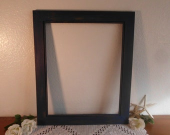 Navy Blue Picture Frame 16 x 20 Rustic Shabby Chic Distressed Nautical Photo Beach Cottage Cabin Home Decor Wedding Reception Decoration