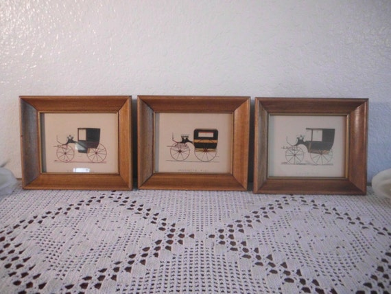 Vintage Car Picture Frame Set Mid Century Man Cave Home Decor Father's Day Birthday Gift for Him Natural Wood Coupe Wagonette Decoration