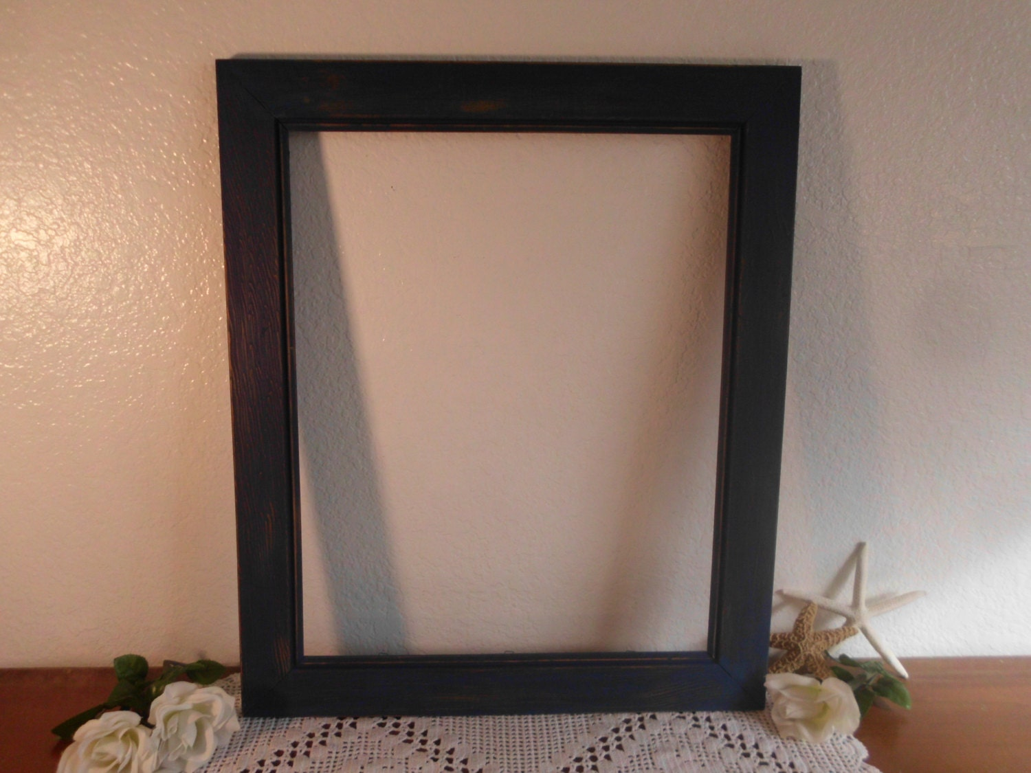 navy blue picture frame 16 x 20 rustic shabby chic distressed. Black Bedroom Furniture Sets. Home Design Ideas