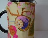 Flowered Coffee Pot Cosy, French Press Cozie,8 Cup Bodum Press Pot Cover, Hot Pot Cozy, French Press Cover, Tea Pot Cozie