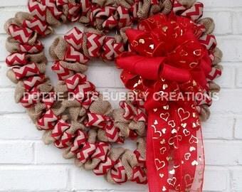 Natural Burlap Double Chevron Heart Wreath W/Sheer Heart Bow