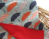 Umbrellas Baby Toddler Blanket Red White Blue Umbrella Flannel Baby Shower Gift New Baby Gift Baby Blanket Cotton Flannel Free Gift Wrapping