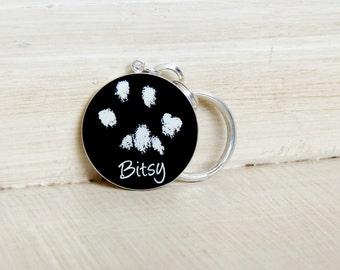 CUSTOM Pet Keychain - Pet Paw Print - Pet Loss Keychain - Pet Keepsake - Pet Memorial - Dog Keychain - Cat Keychain- Personalized Pet