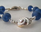 Dark Blue sea glass OOAK handmade lampworked glass and silver bracelet