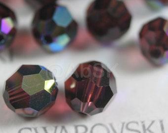 12 pcs Swarovski Elements - Swarovski Crystal Beads 5000 8mm Round Ball Beads - Burgundy AB