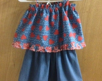 Summer Top and Denim Skirt, girls size 5
