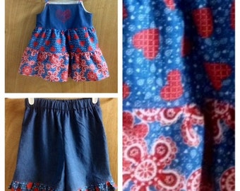 Tiered Summer Top and Ruffle Shorts, girls size 8