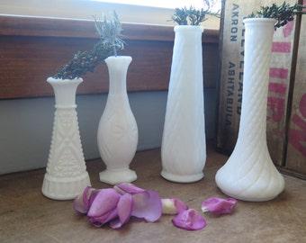 Vintage (4) Milkglass Vases, White Wedding Decor