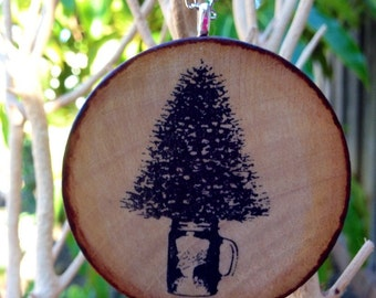 Christmas Tree in a Mason Jar Ornament on Hand-Stained Wood // Silver Plated Chain // Stocking Stuffer