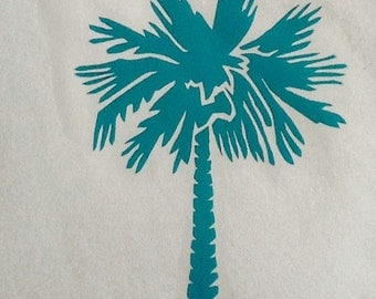 South Carolina Palmetto tree, outdoor vinyl car decal 6x7, vinyl sticker, window sticker