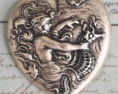 Art Nouveau Brass Heart with Mermaid and Seahorse, Brass Ox