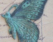 Solid Brass Casting of Butterfly, Honey Cyan Patina